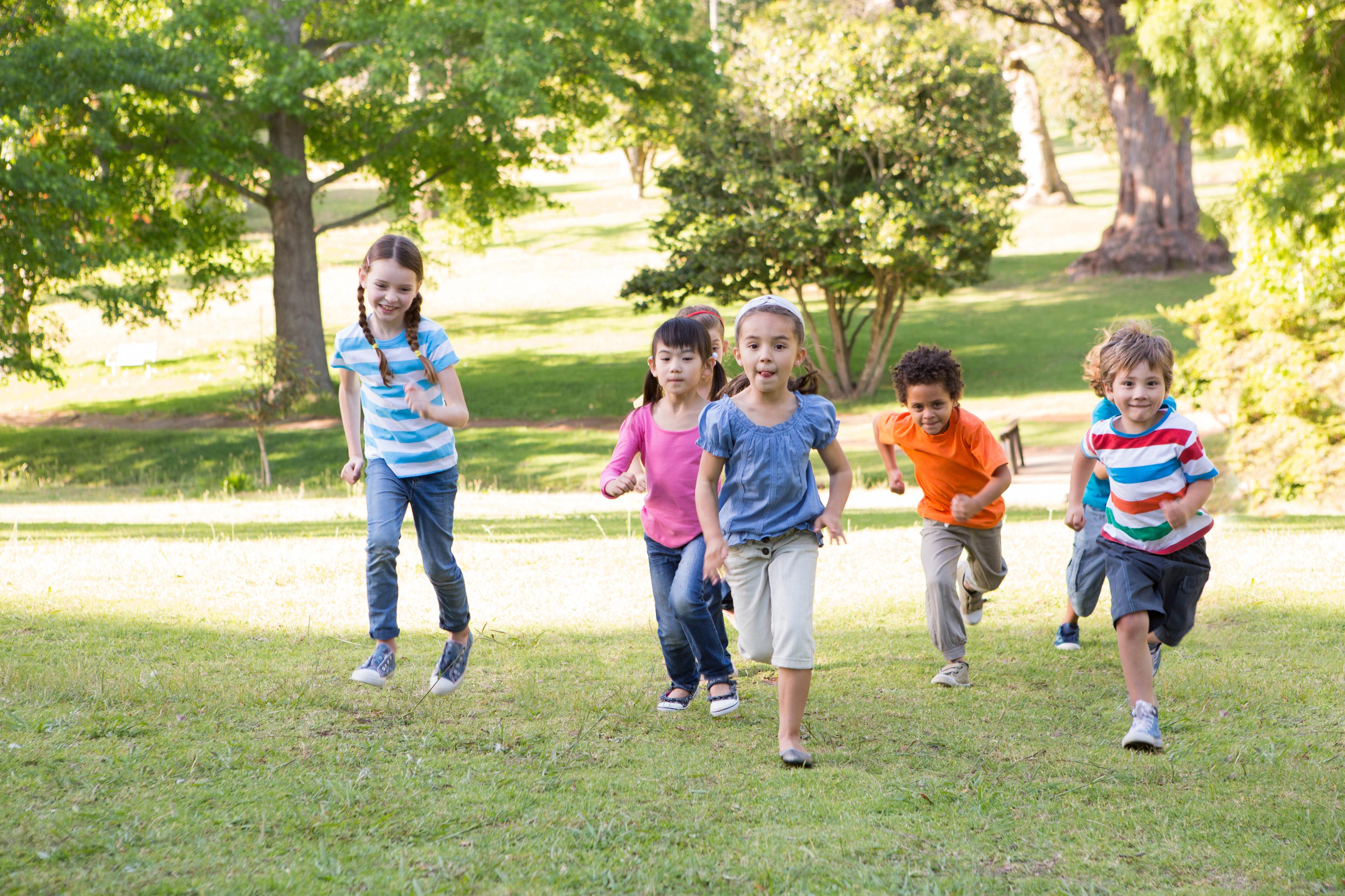 active living - children running in park