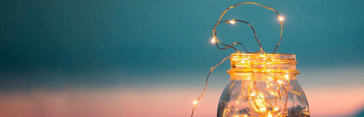 Image of lights in a mason jar