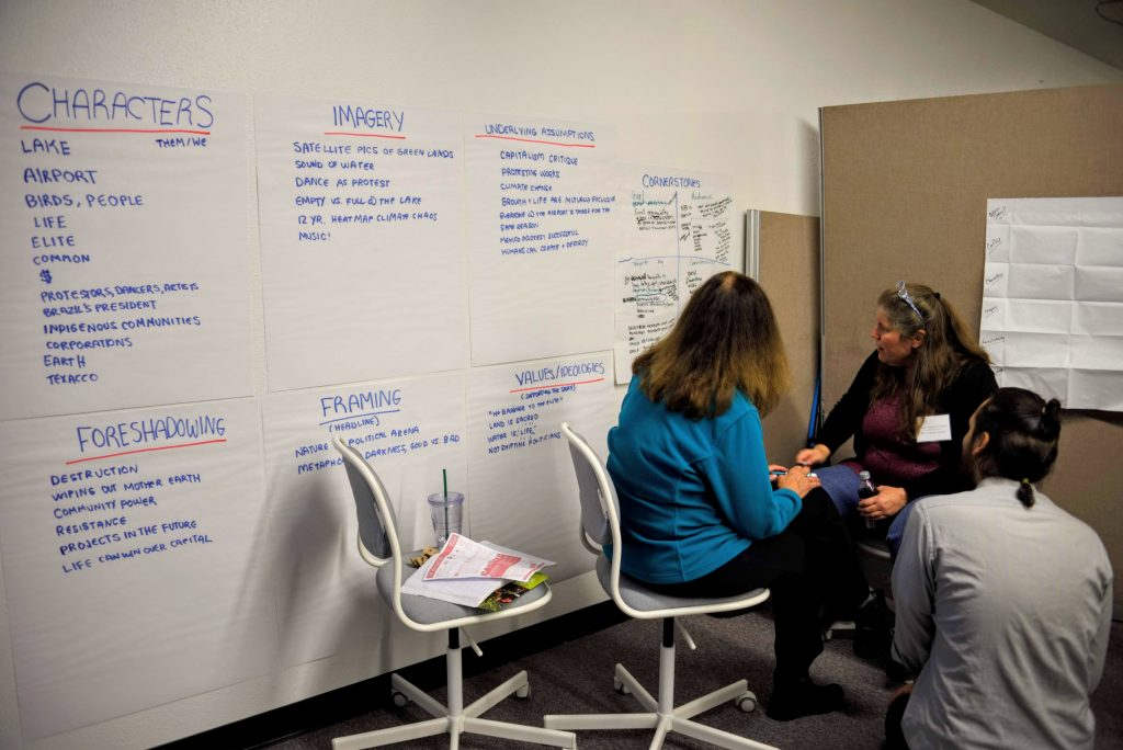 """Image Description: Large Sticky Papers are arranged on a wall, each featuring descriptions """"Foreshadowing"""", """"Framing"""", """"Values/Ideologies"""", """"Characters"""", """"Imagery"""", """"Underlying Assumptions"""", """"Cornerstones"""". 2 People sit in chairs and look at the writing on the """"Cornerstones"""" paper while a third person kneels next to them in discussion. Photo from the 2018 COO Storytelling Workshop."""