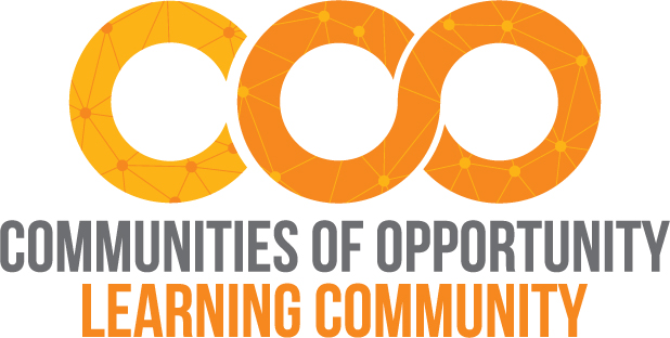 Communities of Opportunity Learning Community logo with COO in variations of orange with hub and spoke graphics within the text lettering.